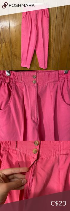 "Vintage 1980s Hot Pink High Waisted Pants Super cute pants!! And comfy too! Size: 28-30 (waist stretches) Waist: 28-30"" Hips: 19"" Rise: 13.5"" Inseam: 26.5"" Vintage Pants & Jumpsuits Straight Leg Neon Pants, Plaid Pants, Pink Pants, Floral Pants, Acid Wash Jeans, Light Wash Jeans, Military Pants, Cute Pants, Vintage Pants"