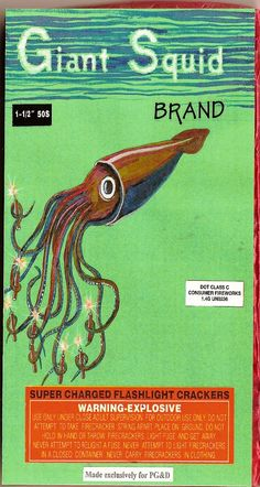 The surrealism continues - a giant squid holding lit firecrackers under the sea. Love that adorable eye.