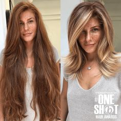 This hair transformation is absolute amazing right? What a beautiful new hairstyle. The medium length hair with blonde balayage fits perfectly to her overall look. Before After Hair, Before And After Haircut, Medium Hair Styles, Curly Hair Styles, Medium Fine Hair, Medium Long, Medium Brown, Burgundy Hair Dye, Brown Blonde Hair