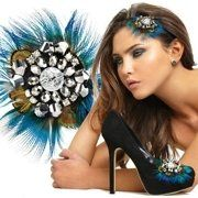 Shoellery Blue Peacock Feather Decorative Shoe, Hat or Brooch Clips  $35