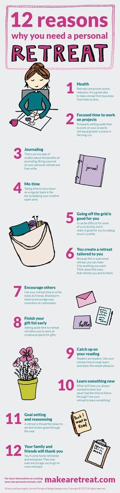 12 Reasons Why You Need a Personal Retreat - an infographic sharing why retreats are so great for you. Learn more about HOW to make your own retreats at http://makearetreat.com