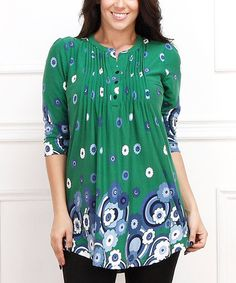 Look what I found on #zulily! Green & Blue Flower Button-Front Tunic - Plus #zulilyfinds