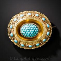 15K Victorian Turquoise Brooch Locket