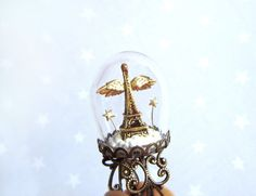 Christmas ring Gold Eiffel Tower and wings-Paris Angel-Terrarium ring