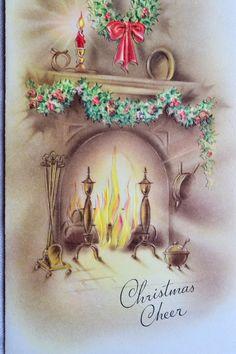 UNUSED Vintage Christmas Card Glowing Lit by Pumpkintruckpaper Vintage Christmas Cards, Retro Christmas, Vintage Holiday, Christmas Greeting Cards, Christmas Pictures, Christmas Art, Christmas Greetings, Vintage Cards, Vintage Postcards