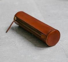 Great gift for your artistic guy... Brown handmade cylinder leather Pencil Case/Pen от EarthyLeather