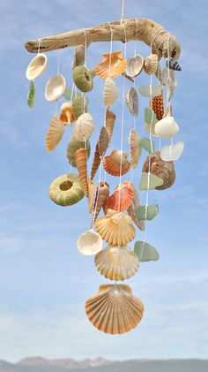Seashells And Sea Glass Suncatcher by BeachBountySeaGlass on Etsy