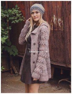 Crochet Retro Jacket with lapel collar Free Pattern - Crochet Women Capes & Poncho Free Patterns
