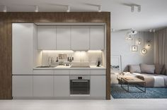Tiny apartment is often used as an inspiration for designing larger space. A small apartment design needs an accordingly planned decor. Small Studio Apartment Design, Small Apartment Kitchen, Small Apartment Decorating, Studio Design, Apartment Plans, Apartment Interior, Small Space Living, Small Spaces, Deco Studio