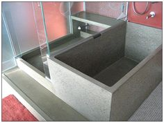 images of concrete bathtub and shower with bench – Christian Bishop – japanesetubs Concrete Shower Pan, Concrete Bathtub, Bathtub Bench, Diy Bathtub, Bathroom Renos, Bathroom Furniture, Bathroom Interior, Bathroom Faucets, Japanese Soaking Tubs