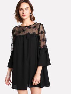 8da85fa1334 Модное платье с сетчатой вставкой Romwe