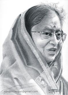 Pratibha Patil - Colección retratos a lápiz - Año 2012
