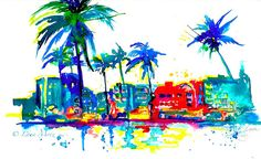 Art Deco Miami Print from  Original Watercolor by LanasArt on Etsy, $25.00