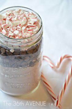 Candy Cane Double Chocolate Cookies in a Jar by the36thavenue.com