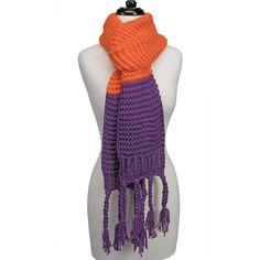Knitted Fringe Scarf-Orange/Purple