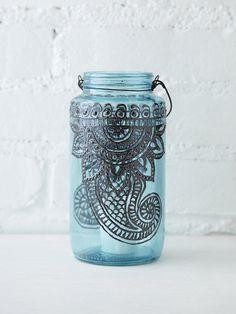 its brilliant, puffy paint a mason jar, add a wire to hang, insert candle and enjoy in the garden tea party, while in the  claw foot bathtub, or maybe use it as your light on an adventure hike at night <3