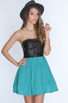 This fancy dress will definitely grab anyones attention in the club or at any party! This one of a kind dress is stylish and chic. Wear this out with your gals or even on a romantic date with that special someone. Featuring faux leather upper, strapless, studded trim, lightly padded bra cups, back zipper closure, tulle inner lining, and finished with a tight fit. 100% polyester