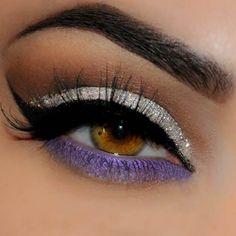 Silver and Purple Glitter Eye Look