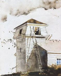 """Andrew Wyeth """"The Roofers"""" 1988 Watercolor Andrew Wyeth Paintings, Andrew Wyeth Art, Jamie Wyeth, Watercolor Landscape, Landscape Art, Landscape Paintings, Watercolor Architecture, Landscapes, Nc Wyeth"""