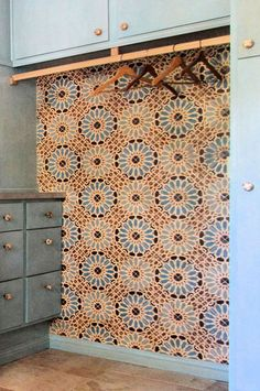 laundry space - Filmore Clark - encaustic tile. i used to hate Encaustic Tile.. now I love it