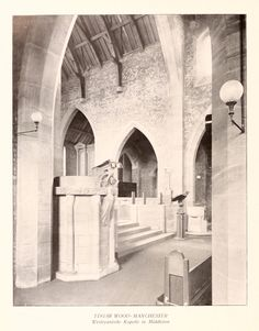 This is the inside of Long Street Methodist Church as it was in 1907. It is now part of the Edgar Wood Centre in Middleton, Manchester, England. The stonework is a pinkish colour, the brickwork is a close match, the roof is brown while the bench in the foreground was stained sage green, an attractive colour contrast. Edgar Wood pioneered a style of church design which was both traditional and modern at the same time.