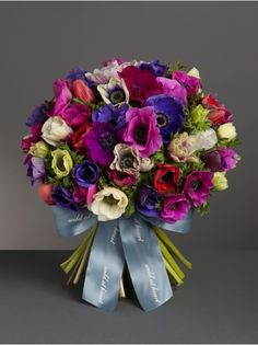 Wild At Heart - Mixed Anemone Bouquet - A stunning hand-tied bouquet of mixed anemones in a range of vibrant colours.
