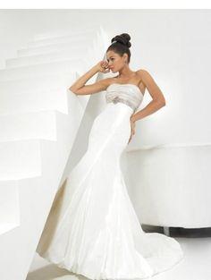Wedding Dresses   Strapless Wedding Dresses   Silk-like Strapless Empire line with crystal Chapel train Wedding Dress WD-11109
