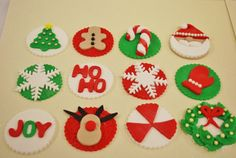 Christmas Cupcake Fondant Toppers by FlavorCupcakery on Etsy