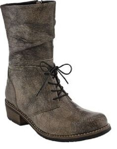 mid calf boot in grey leather with lace ties in front