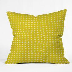 Leah Flores Sunshine Scribble Dots Yellow 26 x 26 20 x 20 Throw Pillow
