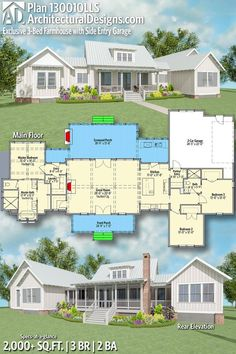 Architectural Designs Exclusive House Plan 130010LLS | 3 beds | 2 baths | 2,000+ Sq.Ft. | Ready when you are. Where do YOU want to build? #130010LLS #adhouseplans #architecturaldesigns #houseplan #architecture #newhome #newconstruction #newhouse #homedesign #dreamhouse #homeplan #architecture #architect #houses #homedecor #kitchen #greatroom #kitchendesign #modernfarmhouse #farmhouse #saltlife #exclusive #cottage #country