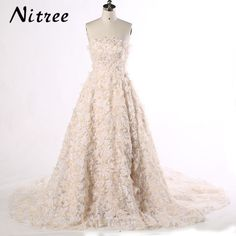 Cheap bridal gown, Buy Quality cloud wedding directly from China vestido de noiva champagne Suppliers: Long Train Cloud Wedding Dresses 2017 New Real Photo Vestido de noiva Champagne Sleeveless Appliques Flower Women Bridal Gowns Wedding Dresses With Flowers, Country Wedding Dresses, Sexy Wedding Dresses, Princess Wedding Dresses, Cheap Wedding Dress, Wedding Gowns, Lace Wedding, Lace Bride, Pearl And Lace