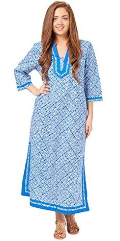 664d3f2641 La Cera 2/3 Sleeve Cotton Caftan Dress in Mandolin Blue (Medium (10-12),  Mandolin Blue) ** Read review @
