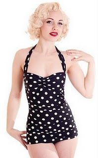 Retro Style Polka Dot Onepiece Swimsuit - For Luna - the ONLY place I could find a reasonably priced gorgeous vintage style swimsuit. Retro One Piece Swimsuits, Retro Bathing Suits, Retro Swimwear, Vintage Swimsuits, Modest Swimsuits, Moda Vintage, Vintage Mode, Retro Vintage, Old Fashioned Swimsuits