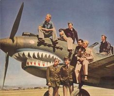 Erik Shilling on top of the cowling - P-40