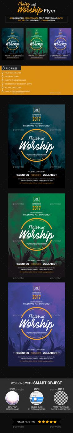 This is a Praise and Worship Flyer Template which is fully editable. Well organised layers inch with bleed area Print ready files High resolution, CMYK Easy to edit Free fonts used Easy Photo Replacement 3 color v Concert Crowd, Concert Flyer, Worship Night, Praise And Worship, Flyer Design Templates, Flyer Template, Gospel Concert, Christian Backgrounds, Flyer Free