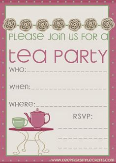 Keeping it Simple: Little Girl Birthday Party Ideas- Tea Party with Different Stations- Tea Party Invitation @keepingitsimple
