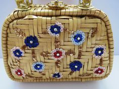 LESCO LONA Vintage Jeweled Wicker Purse Hong Kong Tan Wicker Rattan Jewels EUC #LescoLona #PurseHandbag