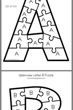 Toddler Learning, Teaching Kids, Puzzle Piece Template, Alphabet Templates, Letter B, Future Classroom, Ms Gs, Puzzle Pieces, School Bags
