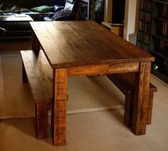 Chunky, rustic farm table, with mis-match chairs....Oh dear husband........
