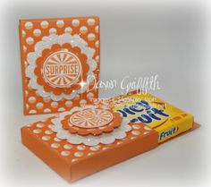 Gum Holder box video posted on my blog today . Check it out and  you will be making these adorable boxes for your  gum gifts  for everyone . Super cute and really easy . #stampinup Online ordering , SU! Demonstrator , Dawn Griffith