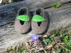 Repurposed Wool Felt Leaf Baby Shoes by olivegiggles on Etsy, $15.00