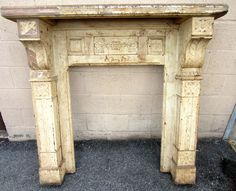 Amazing Antique Carved Walnut Fireplace Mantel Architectural Salvage | eBay  $599