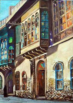 Iraqi art by Iraqi artist Abbas AlZahawi الفنان العراقي..عباس الزهاوي..خانقين 1956....شناشيل بغدادية.......