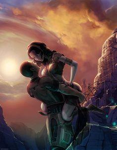 Shepard and Tali celebrate on Tali's homeworld.