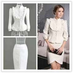 #WHITE #jacquard #weave #BOW #BLAZER #SKIRT #SET #SUIT #ELEGANT #CLEARANCE #ghl0023