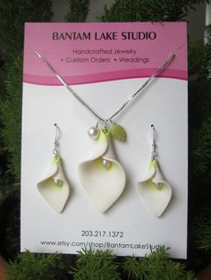 Calla Lily; Polymer Clay, Freshwater Pearls, Jade Leaf, Necklace and Earring Set Choose Your Length