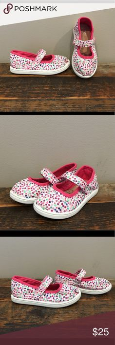 NWOT Toms Polka Dot Mary Janes sz 8C Brand new, without tags. White with multicolored polka dots. Toddler size 8. Please check out my closet for more awesome kids shoes! Bundle for a discount and save on shipping! 😎 Toms Shoes