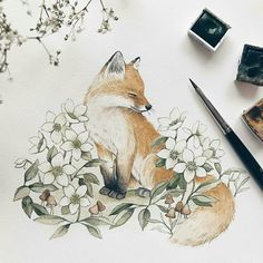 A dash of spring on my studio desk today 🦊 I knew I had to draw hellebores. me and my friend went on a short hike the other day & they… Animal Drawings, Cute Drawings, Cute Fox Drawing, Hase Tattoos, Fox Tattoos, Deer Tattoo, Raven Tattoo, Tattoo Ink, Arm Tattoo
