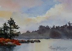 Autumn Lake Morning by Poppy Balser, Watercolor